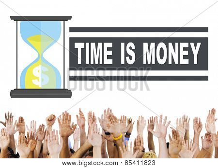 Time Money Hour Glass Hands People Concept