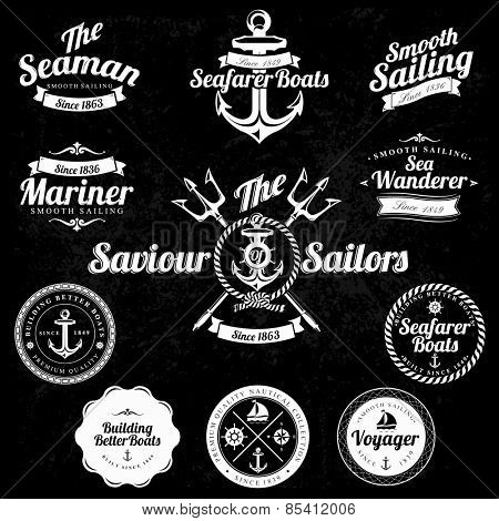 Set Of Vintage Retro Nautical Badges And Labels on chalkboard