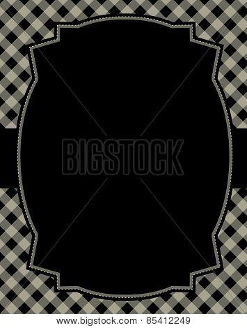 Black Gingham Background With Frame