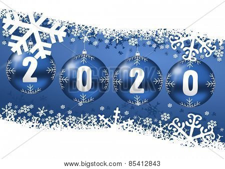 2020 new years illustration with christmas balls