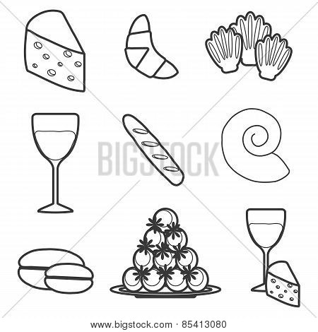 Set of cartoon french food objects