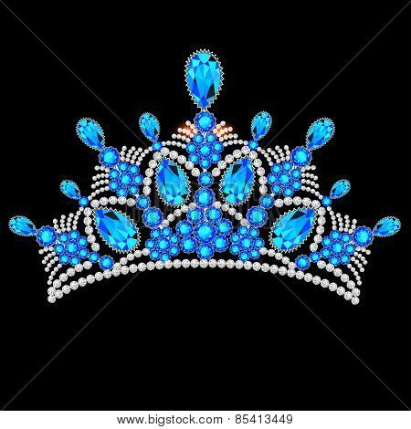 Crown Tiara Women With Glittering Precious Stones