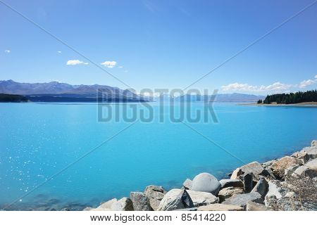 natural turquoise lake.