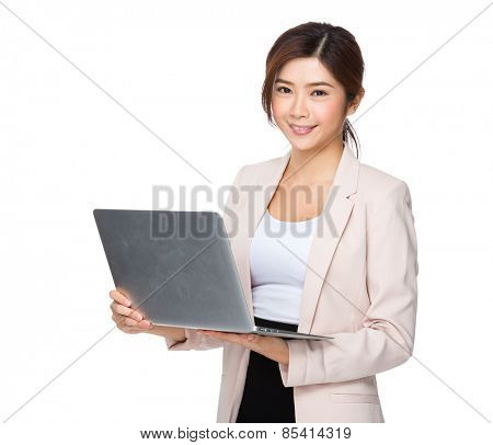 Asian business executive useing notebook computer
