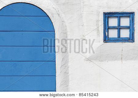 blue gateway and window
