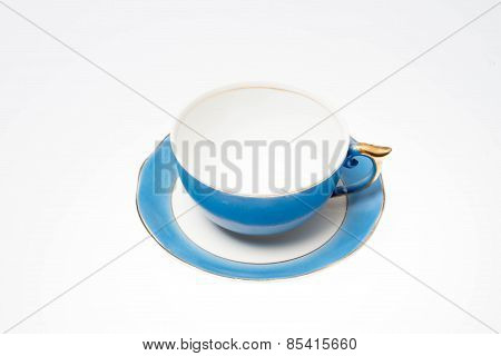 Empty tea cup in a white background