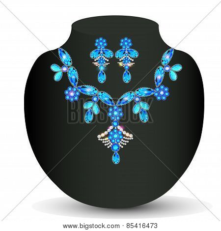 Illustration Of Woman's Necklace With  Precious Stones