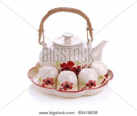 Mini Tea Set Isolated On White Background