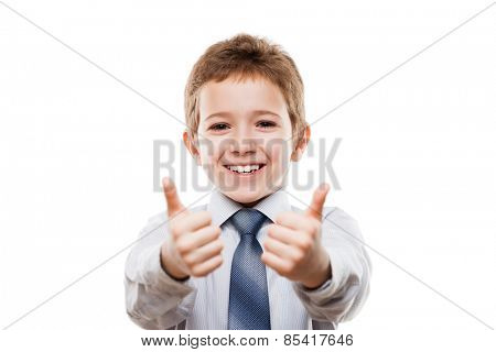 Little smiling young businessman child boy hand gesturing thumb up success sign white isolated