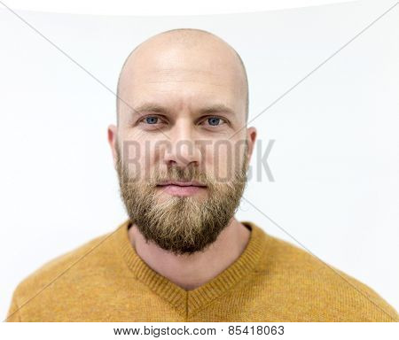 Portrait of a handsome bald young man with beard