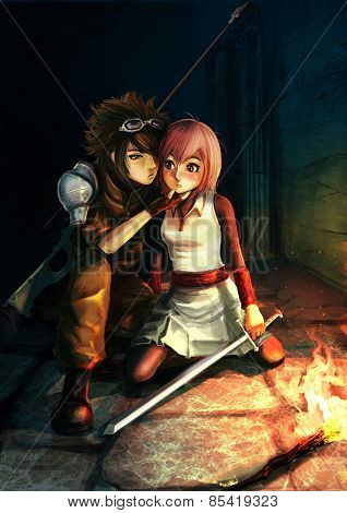 Fantasy Illustration Of A Modern Sniper Kissing A Cute Warrior Girl In Dark Dungeon