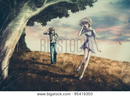 Fantasy illustration of a cute couple is walking along the beautiful field on the hill in romantic c
