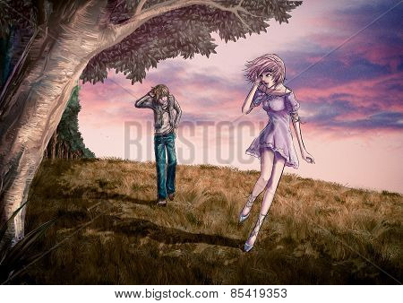 Fantasy illustration of a cute couple is walking along the beautiful field on the hill in romantic