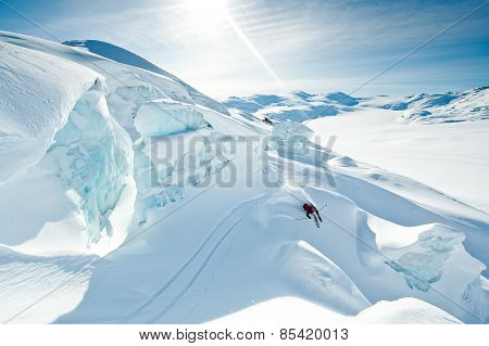 Big Mountain Skier Scouting Lines