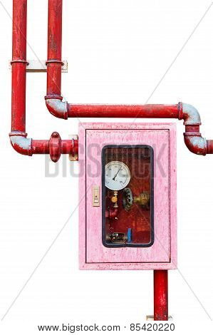 Controller Of Water Sprinkler And Fire Fighting System On Isolated White Background With Clipping Pa