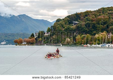 Boat Of Kayaking On Lake Geneva In Annecy, France