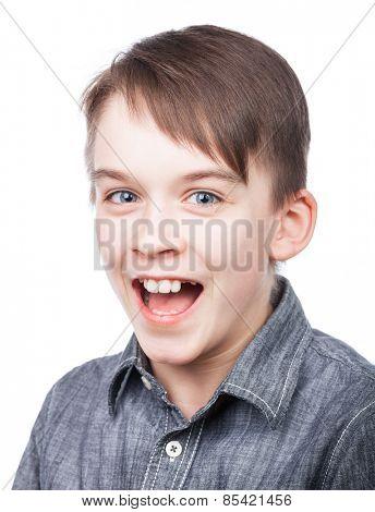 Happy boy wearing grey shirt shouting