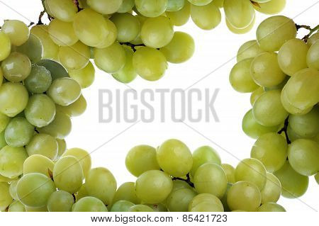 Frame Made Of Fresh And Tasty  Grapes