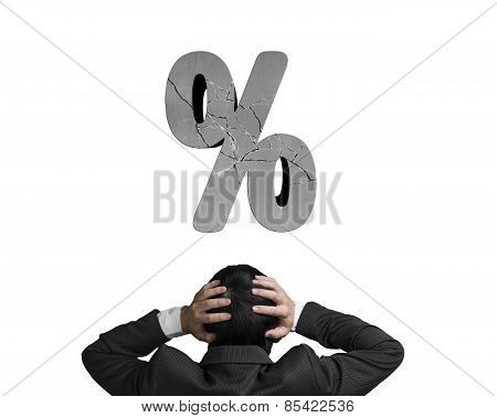 Businessman Holding Head With Cracked Percentage Sign Isolated On White