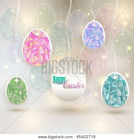 hanging colored eggs
