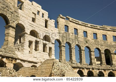 Wall Of Antique Amphitheater In Pula