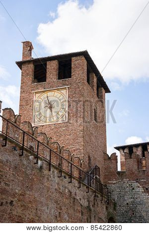 Clock Tower In Verona Old Castle