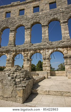 Fragment Of Wall Of Antique Amphitheater In Pula