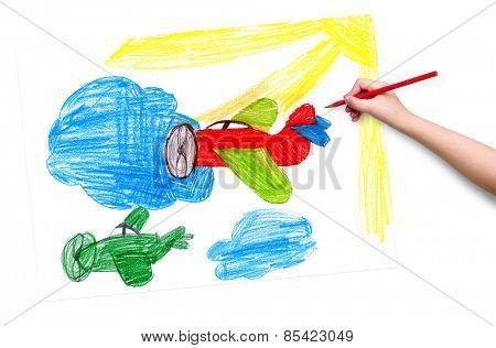 retro airplanes. children drawing