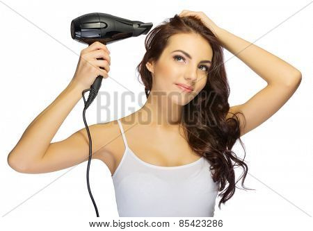 Young girl with hair dryer isolated