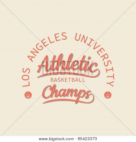 Athletic Basketball Champs Stamp For Typography