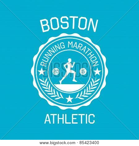 Stamp Of Running Marathon For Typography