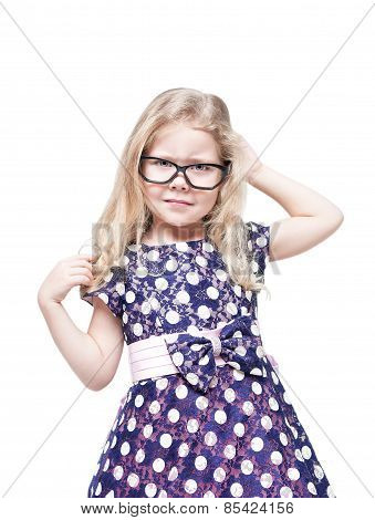 Beautiful Little Girl In Glasses Annoyed Isolated