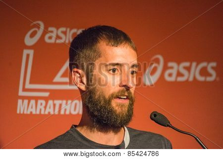 Mike Morgan  , American Marathon Runner Attends A Press Conference