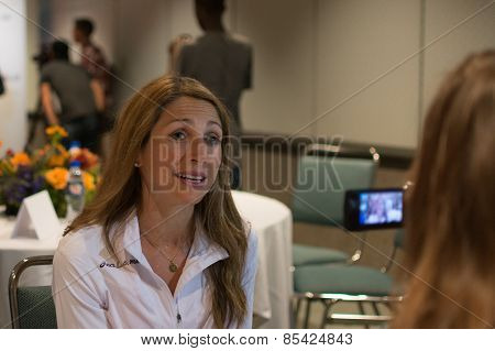 Sara Hall  , American Marathon Runner Attends A Press Conference