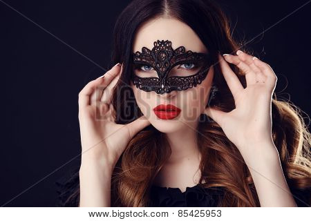 Gorgeous Woman With Dark Hair And Blue Eyes, With Lace Mask On Her Face