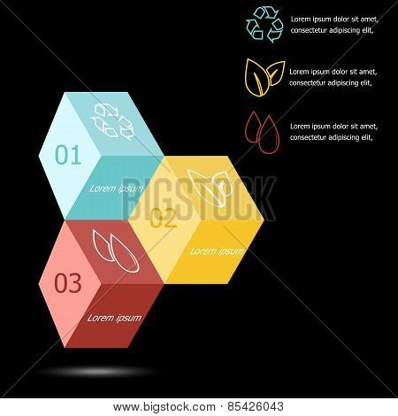 Design 3D Box Infographic On Black Background