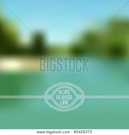 Blurred Summer Lake Background With Horizontal Rope Border