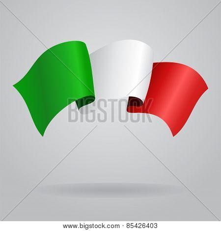Italian waving Flag. Vector illustration
