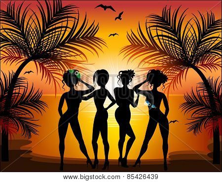 Silhouette Of Beautiful Girls On The Background Of A Tropical Landscape. Summer Trips.