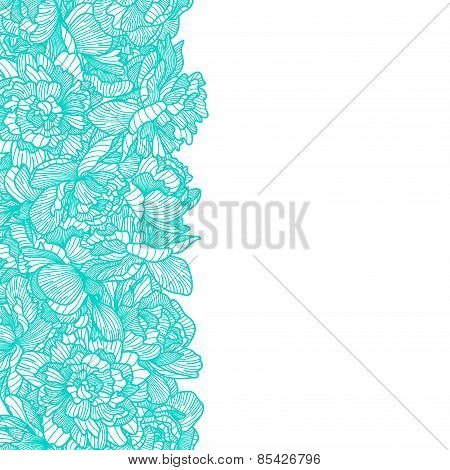Seamless Peony Flowers Border On White Background