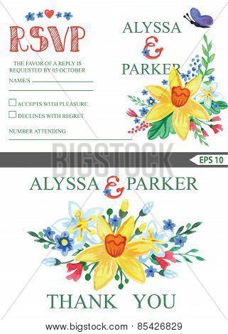 Spring Wedding Invitation Set.floral Wreath.narcissus Flowers