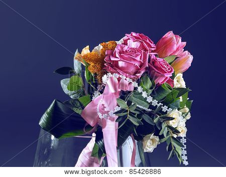 Bouquet Of Spring Flowers In A Vase