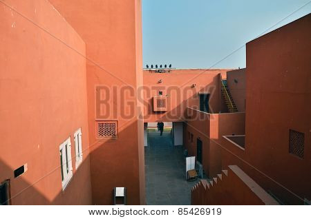 Jaipur, India - January 31, 2014: Indian People Visit Jawahar Kala Kendra In Jaipur