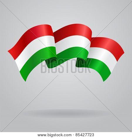 Waving Hungarian Flag. Vector illustration