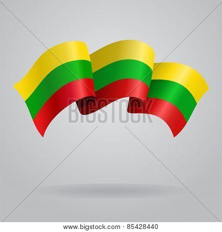 Lithuanian waving Flag. Vector illustration