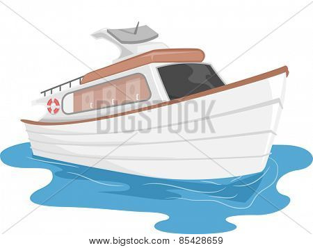 Illustration of a Private Yacht Cruising Through Water