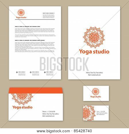 Template corporate style with a round ornament