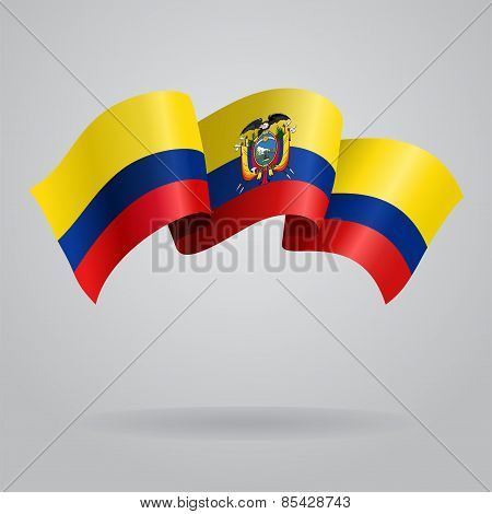 Ecuadorian waving Flag. Vector illustration