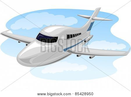 Illustration of a Chartered Plane Cruising Through the Sky