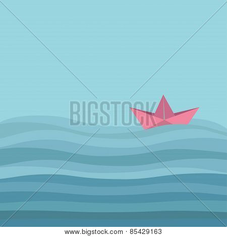 Origami Paper Boat And Ocean Sea Waves. Flat Design Love Card